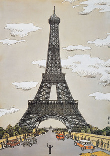 《パリのエッフェル塔》 水彩画 1961年