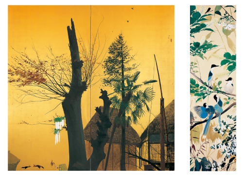 左から 《秋晴》 1948年8月 田中一村記念美術館蔵 / 《忍冬に尾長》 1956年頃 個人蔵(田中一村記念美術館寄託)