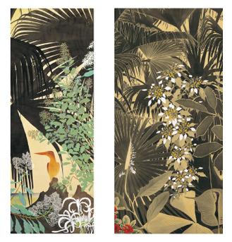 左から 《初夏の海に赤翡翠》 1962年頃 田中一村記念美術館蔵 / 《枇榔樹の森に崑崙花》 1960年代 田中一村記念美術館蔵