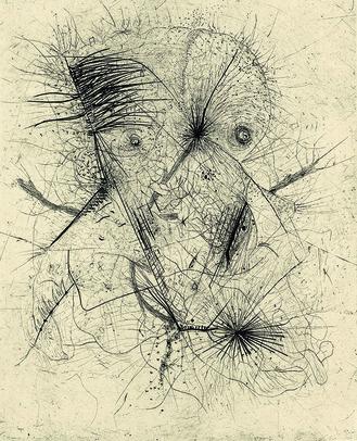 顔(カミーユ・ブリアン著『鯨の街』の挿画より) ヴォルス1946/62年