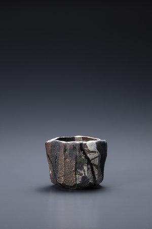 焼貫黒樂茶碗 銘 瞪目視霄漢 2005年